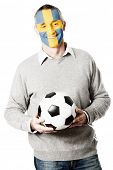 pic of sweden flag  - Mature man with Sweden flag painted on face - JPG