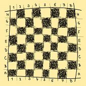 stock photo of chessboard  - Abstract chessboard freehand drawing imitation - JPG