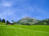 stock photo of farmhouse  - historical wooden farmhouse in alpine mountain landscape - JPG