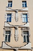 pic of art nouveau  - Windows on the facade of the Art Nouveau building in Poznan - JPG
