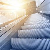 stock photo of escalator  - Modern interior with escalator close - JPG