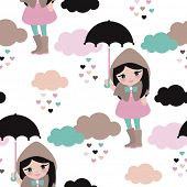 image of rain cloud  - Seamless umbrella rainy day and clouds girl in rain coat and boots kids illustration background pattern in vector - JPG