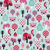 stock photo of beaver  - Seamless kids adorable beaver woodland and forest flower theme for girls illustration background pattern in vector - JPG