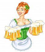 image of leprechaun  - Beautiful leprechaun girl with beer - JPG