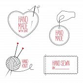 image of tailoring  - Set of icons emblems and labels for handmade tailor hand sewing and knitting theme design - JPG