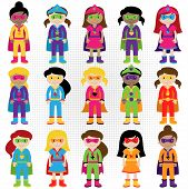 Постер, плакат: Collection of Diverse Group of Superhero Girls matching boy superheroes in portfolio