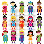 stock photo of halloween characters  - Collection of Diverse Group of Superhero Girls - JPG