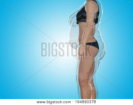 poster of Conceptual fat overweight obese female vs slim fit healthy body after weight loss or diet with muscl