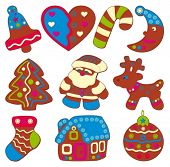 Celebratory cookies or christmas icons