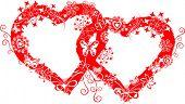 Grunge valentine frame, hearts, vector