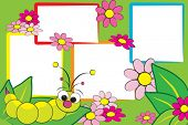 image of maggot  - Kid scrapbook with a grub and flowers  - JPG