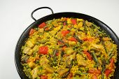 Traditional Spanish rice: Paella and vegetables - Vegetarian recipe