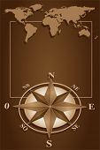 Map world and blank frame with compass rose, vintage style