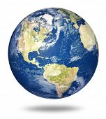 Planet Earth On White Background - America View (3d Source Maps- Http://visibleearth.nasa.gov/)