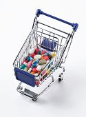 pills in a shopping cart side view