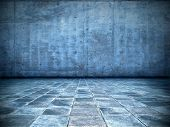 pic of court room  - grungy blue room - JPG