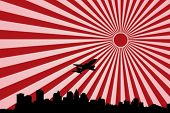 Tokyo with starting airplane on Nippon Flag