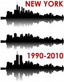 New York Skyline 1990-2010-oude World Trade Center, zonder en met het nieuwe WTC