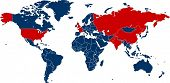 World map of all countries with nuclear weapons