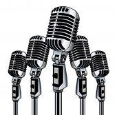 five retro microphones in vector art