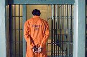 Handcuffed prisoner in jail poster