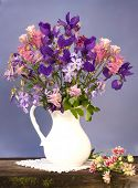 bouquet of flowers iris and aquilegia