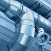 stock photo of hvac  - System of ventilating pipes - JPG