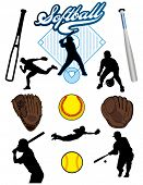 stock photo of softball  - A collection of illustrated softball elements - JPG