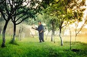 Industrial Worker Using Mistblower For Toxic Pesticide Distribution In Fruit Orchard poster