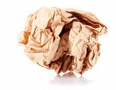 Brown crumpled paper balls isolated on white