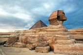 Egyptian sphinx and pyramid in Cairo