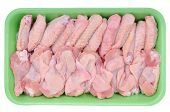 Supermarket packaged raw chicken wings isolated on white background.