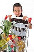 Cute boy with shopping cart full of grocery isolated on white background - a series of SHOPPING TROLLEY images.