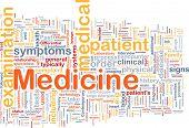 Ilustración de wordcloud de concepto de fondo de la medicina