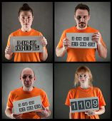 stock photo of serial killer  - arrested criminal gang wearing orange jumpsuit - JPG