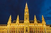 Town hall in Vienna at night, Austria