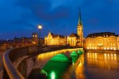 stock photo of zurich  - Zurich at night - JPG