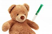 picture of flu shot  - En Teddy gets an injection - JPG