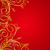 Elegant golden floral background. Vektor.