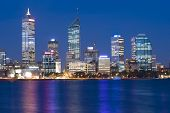 Western Australia - Perth Skyline from Swam River by Night