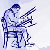 Ilustración del vector de un pianista de jazz en el escenario de estilo acuarela