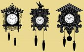 image of pendulum clock  - Vector representation of Cuckoo Clocks set - JPG
