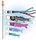 Vector illustration of Japanese koinobori fish