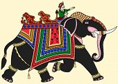 stock photo of indian culture  - Vector illustration of a decorated Indian elephant - JPG