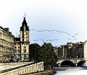 France, Paris: panoramic view of  river SEINE Pont Neuf  bridge