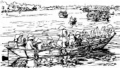 hand drawing of Hoi an harbour in Vietnam (vector)