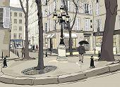 Vector illustration of Furstemberg square in paris