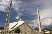 Side view of monstrous Faisal Mosque in Islamabad, Pakistan