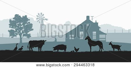 poster of Silhouettes Of Farm Animals. Rural Landscape With Cow, Horse And Pig. Village Panorama For Poster. F