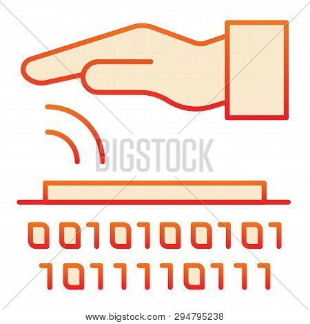 poster of Identity Biometric Scanning Flat Icon. Verification Palmprint System Red Icons In Trendy Flat Style.